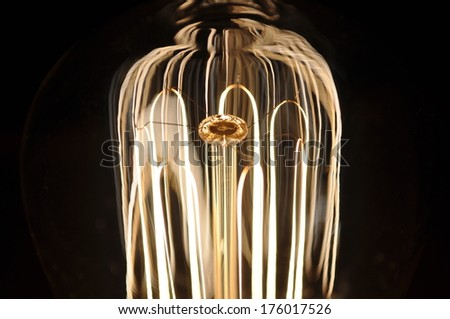 macro of an antique bulb filament - stock photo