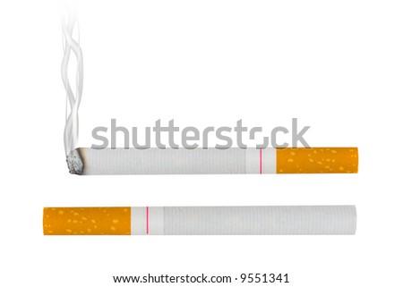 Macro of cigarettes, isolated on white background - stock photo