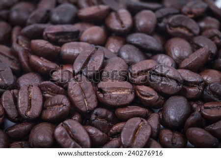 Macro of coffee bean, background of coffee bean - stock photo