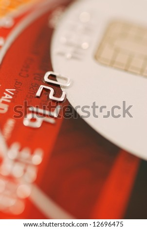Macro of credit card - very shallow DOF - stock photo