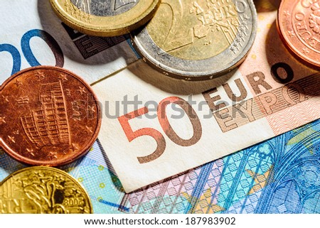 Macro of Euro coins and banknotes