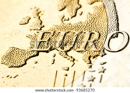 Macro of euro zone map from the coin - stock photo