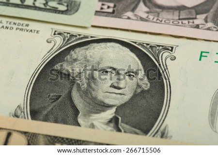 Macro of George Washington on USA one dollar banknote - stock photo
