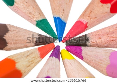 Macro of Isolated wooden colored pencils - stock photo