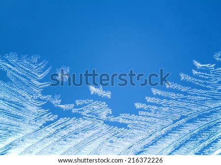 Macro of natural rime on frosted window  - stock photo