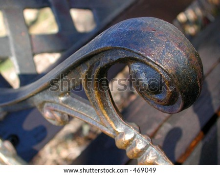 macro of park bench handle