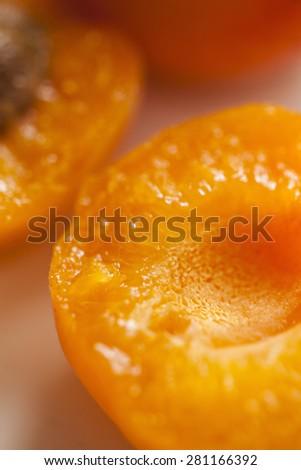 Macro Of Raw Ripe Apricot - stock photo