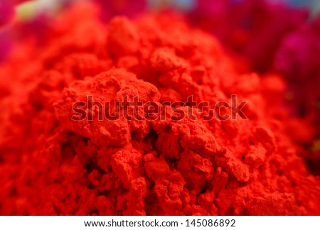 Macro of red gulal, shallow depth of focus - stock photo
