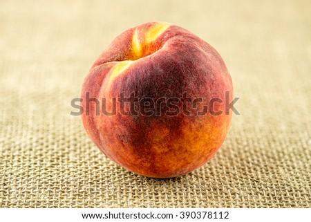 Macro of ripe sweet peach fruit - stock photo