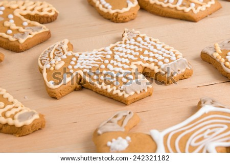 macro of spiced decorated cookies - stock photo