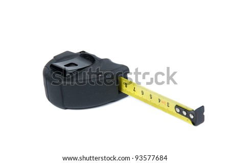 macro of tape-measure over white background