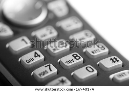 macro of telephone buttons isolated