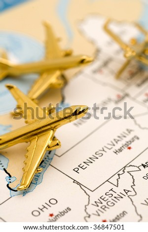 Macro of Three Planes Over Pennsylvania. - stock photo