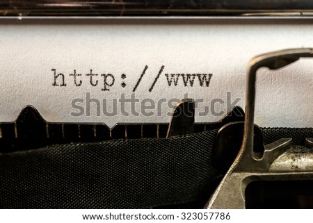Macro of url text beginning written by old typewriter machine