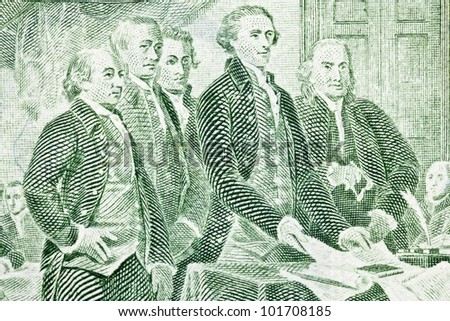 Macro of US two dollar bill.  Jefferson, Franklin, Adams and other Colonials presenting the Declaration of Independence to Congress.