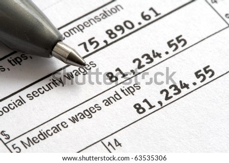 Macro of W2 1040 Form for tax day. - stock photo