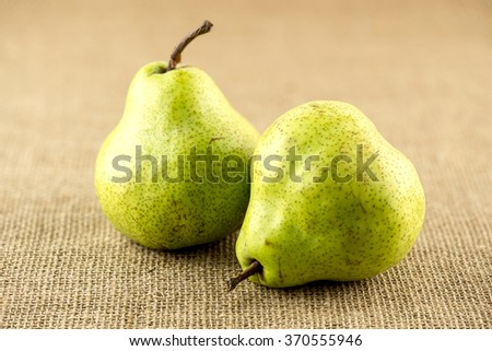 Macro of wholesome organic juicy pears - stock photo