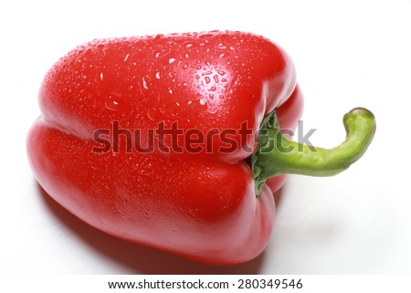 macro one red bell pepper in drops of dew on a white background studio