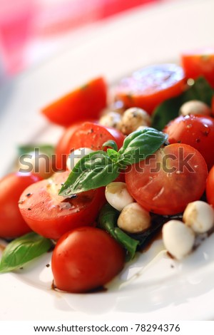 Macro photo of a Caprese salad with tomato, mozzarella, basil, balsamic and olive oil. Very shallow depth of field, focusing on the basil leaves on top. - stock photo