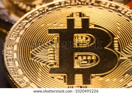 Macro photo of a Golden Bitcoin