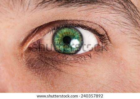 Macro photo of a male eye - stock photo