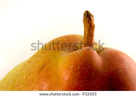 Macro photo of a pear on a white background