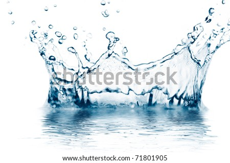 macro photo of a water splash isolated on white - stock photo