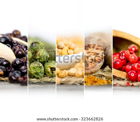 Macro photo of colorful spice mix with white space for text; low depth of focus - stock photo