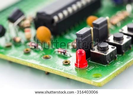 macro photo of electronic circuit - stock photo