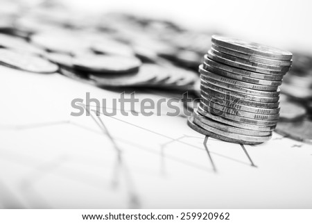 Macro photo of metal coins on background - stock photo