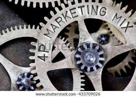 Macro photo of tooth wheel mechanism with 4P MARKETING MIX concept words - stock photo