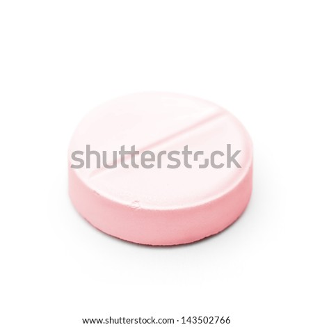 Macro picture of medicine pill isolated on white background with soft shadow. Focus on the front edge. Clipping path included - stock photo
