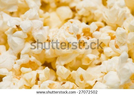 Macro popcorn as a background - stock photo