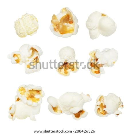 Macro popcorn isolated on white background - stock photo