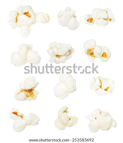 Macro popcorn isolated on white background, with clipping path, (high resolution) - stock photo