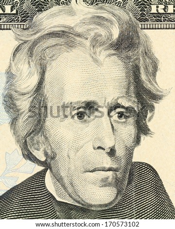 Macro portrait of President Andrew Jackson as depicted on the US twenty dollar bill. Front of 20 Dollar money