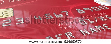Macro Red Credit Card. Panorama Macro view of Credit Card with Chip. Red pattern plastic. 3D render. Generic names and numbers, non branded.