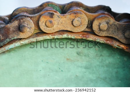 macro rusty chain and gear - stock photo