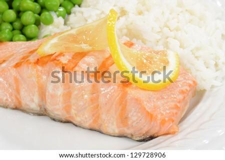 Macro salmon with lemon - stock photo