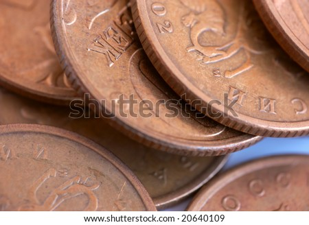 Macro set of old coins of golden color - stock photo