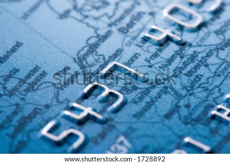 macro shoot of a credit card - stock photo