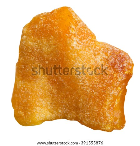 macro shooting of natural gemstone - specimen of rough amber mineral gem stone isolated on white background - stock photo
