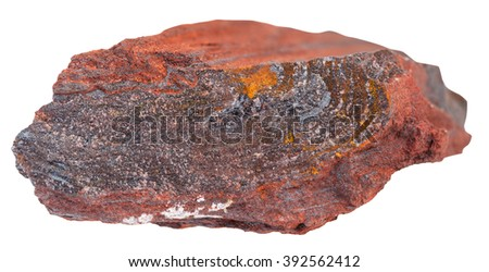 macro shooting of natural rock specimen - gemstone of ferruginous quartzite ( jaspillite, jaspilite, taconite, itabirite, hematite, iron ore) mineral isolated on white background - stock photo