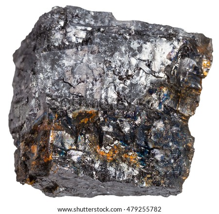 macro shooting of sedimentary rock specimens - black coal (bituminous coal) mineral isolated on white background