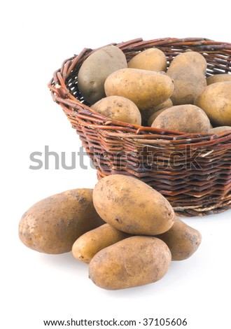 Macro shot of a basket full of potatoes, isolated on white.