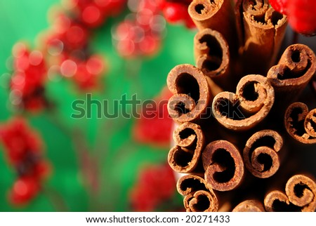 Macro shot of a bunch of cinnamon sticks