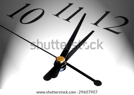 Macro shot of a clock showing the minutes and seconds hand - stock photo