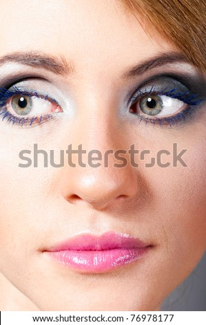 macro shot of a female face with fashion make-up
