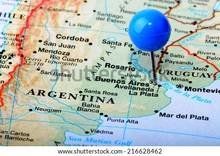 Macro shot of a map of Argentina - stock photo