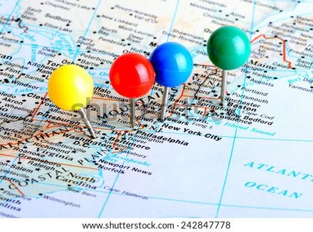 Macro Shot Map East Coast United Stock Photo Download Now